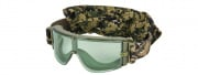 Lancer Tactical CA-234Y Airsoft Safety Green Lens Frameless Goggles (Forest Digital)