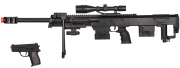 UK Arms P1050 Spring Rifle w/ Flashlight Laser and P211 Spring Pistol Airsoft Gun (Black)