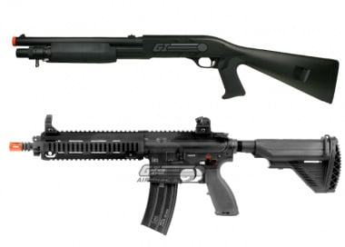 Elite Force HK 416C By VFC / M3 Tri Shot Shotgun 2 Airsoft Gun Package Deal