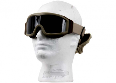Lancer Tactical CA-203T Airsoft Safety Goggles Basic with Multi Lens Kit - Desert Tan Frame / Smoke, Clear and Yellow Lens