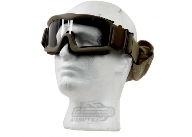 Lancer Tactical CA-221T Airsoft Safety Mask Vented - Desert Tan Frame / Clear Lens