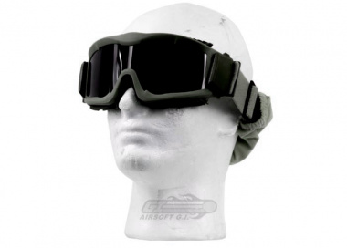 Lancer Tactical CA-223G Airsoft Safety Mask Vented with Multi Lens Kit - OD Green Frame / Smoke, Clear and Yellow Lens