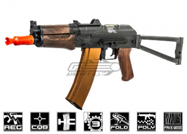 Lancer Tactical AK74U Full Metal Gearbox AEG Airsoft Gun ( Wood )