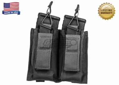 Tactical Assault Gear Double MOLLE Shingle Pistol Enhanced Mag Pouch ( BLK )