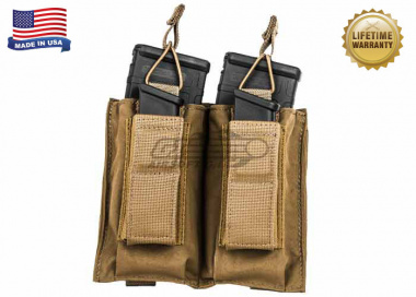 Tactical Assault Gear Double MOLLE Shingle Pistol Enhanced Mag Pouch ( COY )