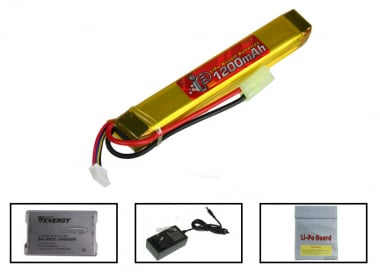 (Discontinued) TSD 11.1V 1200mah LiPo Short Stick Battery Package (Battery , Charger & Liposack)