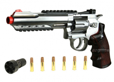 "WG Full Metal / Fake Wood 6"" Revolver CO2 Airsoft Gun"
