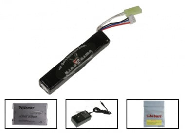 King Arms 11.1V 1100mAh LiPo Mini Battery Package ( Battery , Charger & Liposack )