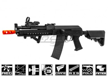 Lancer Tactical Full Metal Gearbox Tactical AK AEG Airsoft Gun ( Black / Polymer Body )