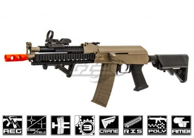 Lancer Tactical Full Metal Gearbox Tactical AK AEG Airsoft Gun ( Tan / Polymer Body )