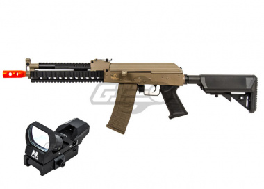 Lancer Tactical Full Metal Gearbox Tactical AK AEG Airsoft Gun (Tan/Polymer Body) w/ NC Star Rogue Red Dot Package