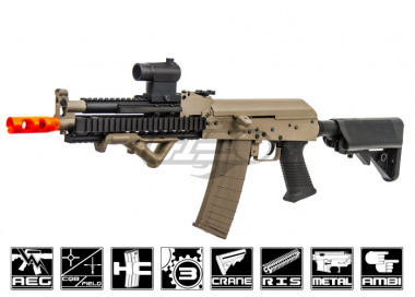 Lancer Tactical Full Metal Gearbox Tactical AK AEG Airsoft Gun ( Tan / Metal Body )