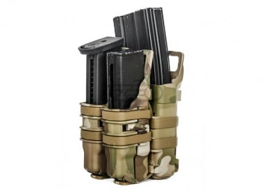 Lancer Tactical High Speed Quick Single Rifle/Double Pistol Pouch ( Camo )