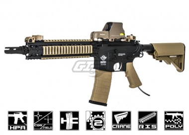 G&G Combat Machine MK18 MOD1 Rifle With Valken V12 Engine Airsoft Gun ( Black Body / 2-Tone )