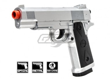CYMA 1911 Tactical Chrome Metal Spring Pistol Airsoft Gun ( Silver )