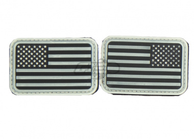 Lancer Tactical Rubber U.S. Flag Patch Set ( Forward + Reverse / Glow In The Dark )