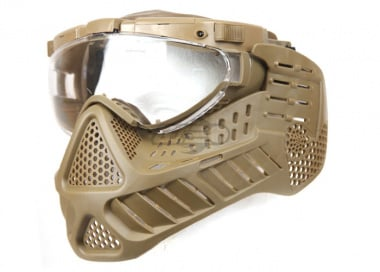 Lancer Tactical Version B Face Mask With Light & Fan ( Tan )