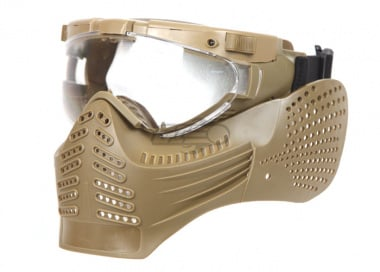 Lancer Tactical Version A Face Mask With Light & Fan ( Tan )