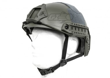 Lancer Tactical FAST Helmet Ballistic Type w/ Retractable Visor (Foliage Green/Basic Version)