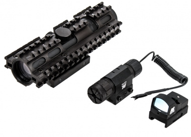 Nc Star 3RS Tri-Railed Sight Set (Green Laser, Micro Green Dot Sight, Railed Mil Dot Scope )