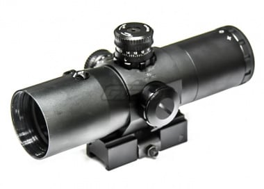 Vism 3x42 Prismatic Quick Release Scope ( Red Laser / Mil Dot Reticle )