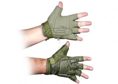 V-Tac Armored Half Finger Gloves ( OD / Small - Extra Small )