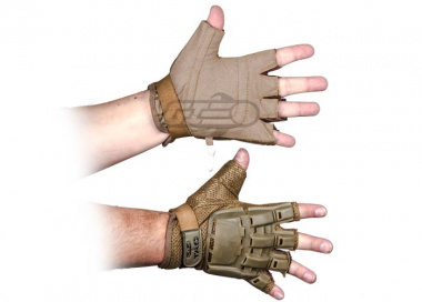 V-Tac Armored Half Finger Gloves ( Tan / Small - Extra Small )
