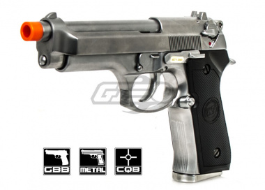 WE Full Metal M9 MEU Pistol Airsoft Gun ( Chrome Silver )