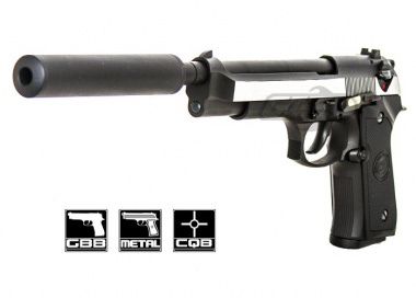 WE Full Metal M9 Long Barrel / Military Spec. Airsoft Gun ( Silver )