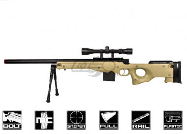 Well L96 Compact Bolt Action Sniper Rifle Airsoft Gun ( Tan, Bipod & Scope Package Deal )