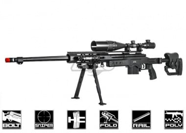 Well MB4411B Bolt Action Spring Sniper Rifle Airsoft Gun ( Black )