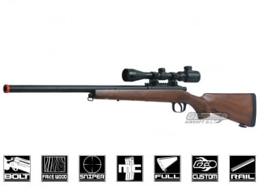 AGM Full Metal / Fake Wood MP-001 Bolt Action Sniper Rifle Airsoft Gun