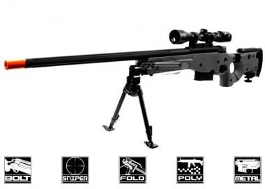 ARES Full Metal AW-338 Spring Powered Bolt Action Sniper Rifle Airsoft Gun ( BLK / CNC Licensed Edition )