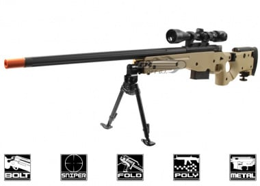 ARES Full Metal AW-338 Spring Powered Bolt Action Sniper Rifle Airsoft Gun ( TAN / CNC Licensed Edition )