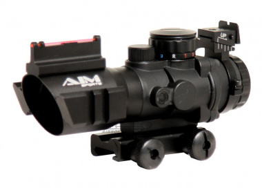 AIM Sports Fiber Optic 4x32 Red / Green / Blue Dot Tactical Compact Scope w/ Arrow Reticle