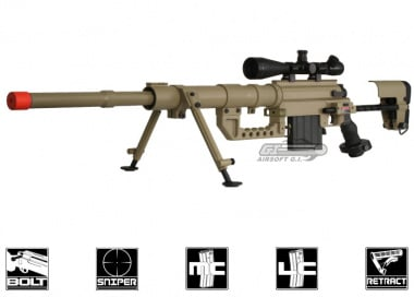 ARES Full Metal M200 Spring / Gas Powered Bolt Action Sniper Rifle Airsoft Gun ( TAN )