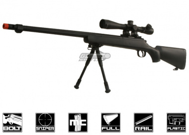 Bravo Full Metal BV7 Bolt Action Sniper Rifle Airsoft Gun ( BLK / Bipod / Fluted Barrel Package )