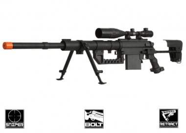 Beta Project Full Metal M200 Spring Bolt Action Sniper Rifle Airsoft Gun ( BLK )