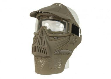 Bravo Modular Full Face Mask with Lens Goggle & Neck Protection ( Tan )