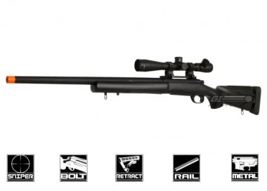 Javelin Airsoft Works Full Metal M24 Bolt Action Sniper Rifle Airsoft Gun ( BLK )