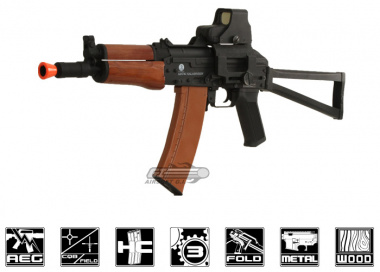 Full Metal / Real Wood Kalashnikov AKS 74 U AEG Airsoft Gun Licensed by Cybergun