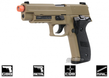 Full Metal SIG 226 Blowback Pistol Airsoft Gun ( Threaded Adaptor / Tan ) Licensed by Cybergun