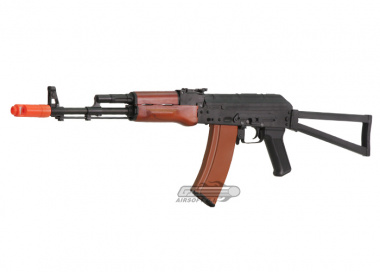 JG Full Metal / Real Wood Blow Back AK-74S AEG Airsoft Gun