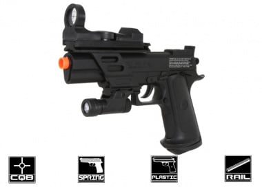 Colt MKIV Spring Pistol Airsoft Gun Licensed by Cybergun ( Shooting Target , Flashlight , & Imitation Red Dot Included )