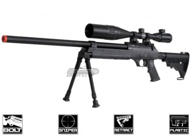 Echo 1 Full Metal ASR Bolt Action Sniper Rifle Airsoft Gun ( BLK )