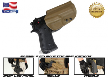 G-Code OSH RTI Holster for Beretta M9 and M9 w/ Rail ( Right Hand / HOLSTER ONLY ) Coyote