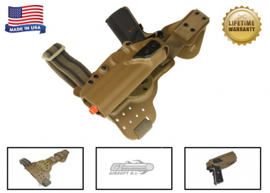 G-Code REAC Tactical Drop Leg Panel & XST 1911 Holster Pkg ( RTI / Right-Handed ) Coyote