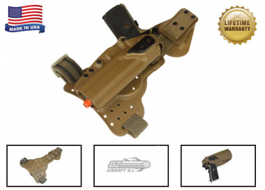 G-Code REAC Tactical Drop Leg Panel & XST 1911 Holster Pkg ( Non-RTI / Right-Handed ) Coyote