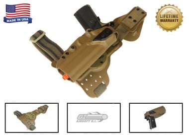 G-Code REAC Tactical Drop Leg Panel & XST 1911 w/Rail Holster Pkg ( RTI / Right-Handed ) Coyote