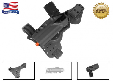 G-Code REAC Tactical Drop Leg Panel & XST 1911 w/Rail Holster Pkg ( Non-RTI / Right-Handed ) Black